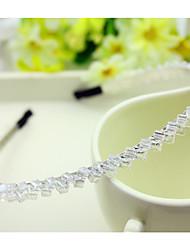 al sur decoraciones aro Corea importada horquilla rhinestone cabeza de cuentas de banda doble cristal fila pelo blanco transparente