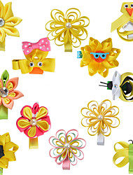 12 Pcs Hair Bows Animal Kanzashi Loop Grossgrain Ribbon Flower Yellowe Color Hair Clips Hairbows Accessories AC006