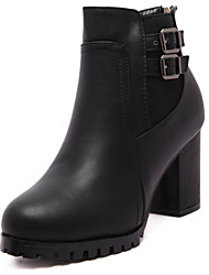 Women's Shoes Leather Chunky Heel Fashion Boots Comfort Round Toe Boots Party and Dress Black