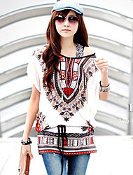 Women's Round Tops & Blouses , Rayon Print Short Sleeve qingshadieying