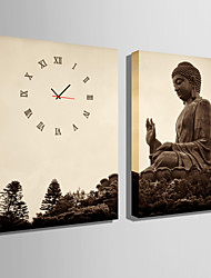 E-HOME® Buddha Clock in Canvas 2pcs