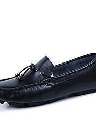 Men's Shoes Casual Leather Boat Shoes Black/White/Orange