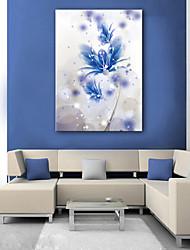 E-HOME® Stretched LED Canvas Print Art A Blue Flowers LED Flashing Optical Fiber Prin