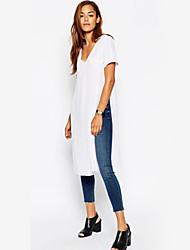 Damen Solide Einfach Lässig/Alltäglich T-shirt,V-Ausschnitt Sommer Kurzarm Weiß Baumwolle Mittel