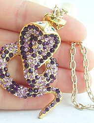 Unique Snake Necklace Pendant With Purple Rhinestone Crystals
