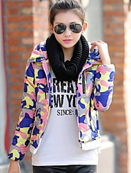 Women's Flower Coats & Jackets , Polyester Casual Long Sleeve BLS