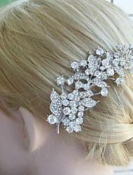 Wedding Headpiece 4.33 Inch Silver-tone Clear Rhinestone Crystal Leaf Bridal Hair Comb Bridal Hair Jewelry
