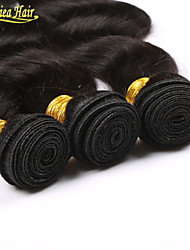 3PCS/Lot Brazilian Virgin Human Weave Hair Weft Extensions 3 Bundles Body Wave Wavy Natural Color Free Shipping