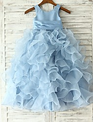 Princess / Sheath / Column Floor-length Flower Girl Dress - Organza Sleeveless Jewel with