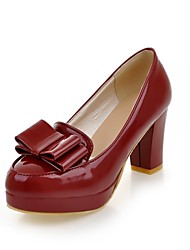 Women's Shoes Patent Leather Chunky Heel Platform/Basic Pump Pumps/Heels Office & Career/Dress Beige/Burgundy
