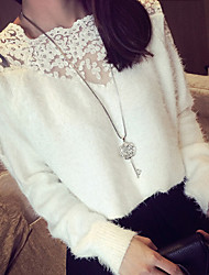 Women's Lace Black White O-Neck Sweater