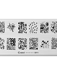 1 Fleur Abstrait Tampons Ongles  Modèle d'image Plaques Pochoir