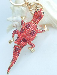 Unique Lizard Gecko Key Chain Pendant With Red Rhinestone crystals