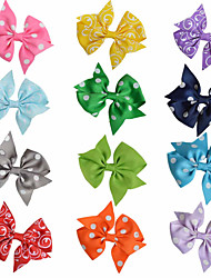 12 Pcs Hair Bows Classic Bow Pinting Ribbon Mix Color Hair Clips Hairbows Allige Clip Handwear Party Favors AC029