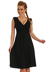 Women's Sexy Sleeveless V Neck Ruched Dress