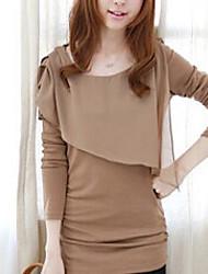 Women's Solid Orange / Beige T-shirt , Round Neck Long Sleeve