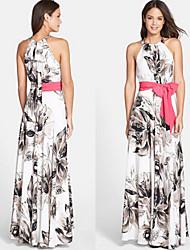 Women's Round Dresses , Cotton Blend Beach Sleeveless life