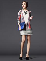 2015 Summer Vintage Style line Women Dress Apricot Wrist Sleeve O-neck Middle-skirt Print Female Clothing