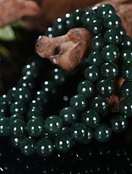 Dark Green Fine Gloss Natural Jade Bead Necklace or Bracelet