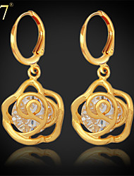 U7® Women's Fashion Gold Plated Earrings Platinum Plated Jewelry Clear Cubic Zirconia Rose Shape Dangle Earrings