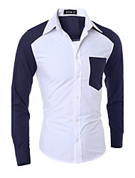 Men's Fashion Sleeve Hit Color Patch Pocket Slim Fit Long-Sleeve Shirt