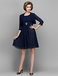 Lanting A-line Mother of the Bride Dress - Dark Navy Knee-length 3/4 Length Sleeve Chiffon