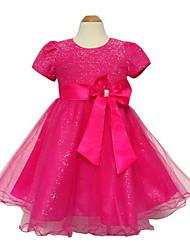 2015 Newest Summer Elegent Kids Toddlers Girls Princess Party Flower Solid Formal Dress SZ3-12Y