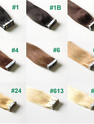 2.5g / 20pcs pc / pack 50g / lot extensions de cheveux de bande brésilien de cheveux humains cheveux raides # 1b, # 2, # 27, # 33, # 613,