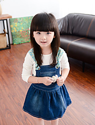 Girl's Cute Floral Straps Stitching Denim Dress