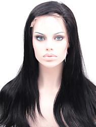 8-24inch peluca llena del cordón recto sedoso # 1 chorro negro 100% brasileña del pelo hunan virgen con el pelo del bebé