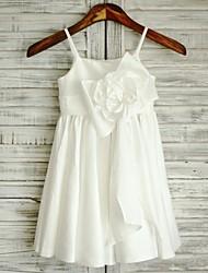 Fourreau / Colonne Mi-long Robe de Demoiselle d'Honneur Fille - Taffetas Bretelles Fines avec Noeud(s) Ceinture / Ruban
