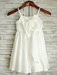 Gaine / colonne genou longueur robe fille fleur - taffetas sans manches spaghetti sangles avec ruban