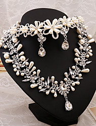 2015 Crystal diamond bridal wedding jewelry wedding necklace earrings bride three-piece floral headbandBY-SET0007
