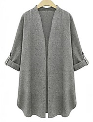 Women's V Neck Long Sleeve Coat , Casual/Work