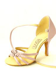 Customizable Women's Dance Shoes Satin Satin Latin / Salsa Sandals Customized Heel Beginner / Professional / Indoor / PracticeBlack /