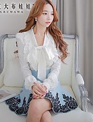 Pink Doll®Women's Casual OL Bow Ruffle Puff Sleeve Shirt