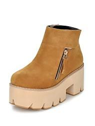 Women's Shoes Fleece Platform Fashion Boots/Round Toe Boots Dress/Casual Black/Yellow