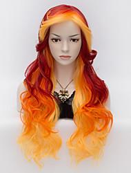 nouvelle mode sexy ladies long corps cheveux ondulés avec des perruques synthétiques bang côté