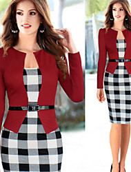 Women's Round Bandage Dress , Cotton Blend Vintage/Bodycon/Casual/Party/Work Long Sleeve VERYM