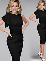 Women's Round Ruched Dresses , Cotton Blend Bodycon Short Sleeve gorgeous