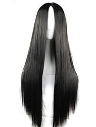 fashion girl must-have de haute qualité naturelle noir perruque de longs cheveux raides