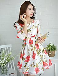 Pink Doll®Women's Round Neck Casual Party Print Lantern Sleeve Slim Waist Line Dress