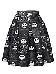 PinkQueen Women's Polyester/Spandex Cartoon Printed Retro Pleated Skirt