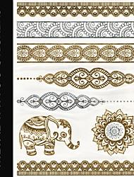 Brand New - Золотистый/Серебристый - Тату со стразами/Тату с животными/Тату с цветами - Временные тату - для