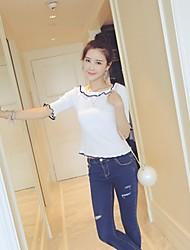 Women's Round Neck T-shirt , Silk ½ Length Sleeve