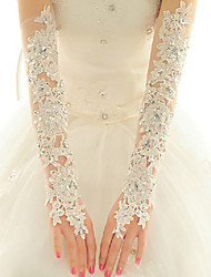 Lace Fingerless Opera Length Wedding/Party Glove With Crystals Rhinestones