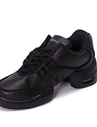 Men's Dance Shoes Dance Sneakers Leather Low Heel Black