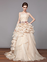 A-line Wedding Dress - As Picture Chapel Train Strapless Organza