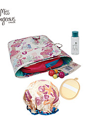4PCS Women Makeup Travel Set Cosmetic Bag Container Empty Bottle Shower Waterproof Cap Bath Sponge Puff