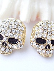 Gothic Skull Stud Earring With Clear Rhinestone crystals